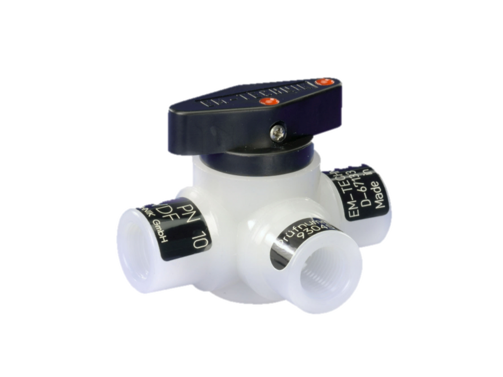 Ball valve (Series 6L), 3-way, horizontal, with L-bore