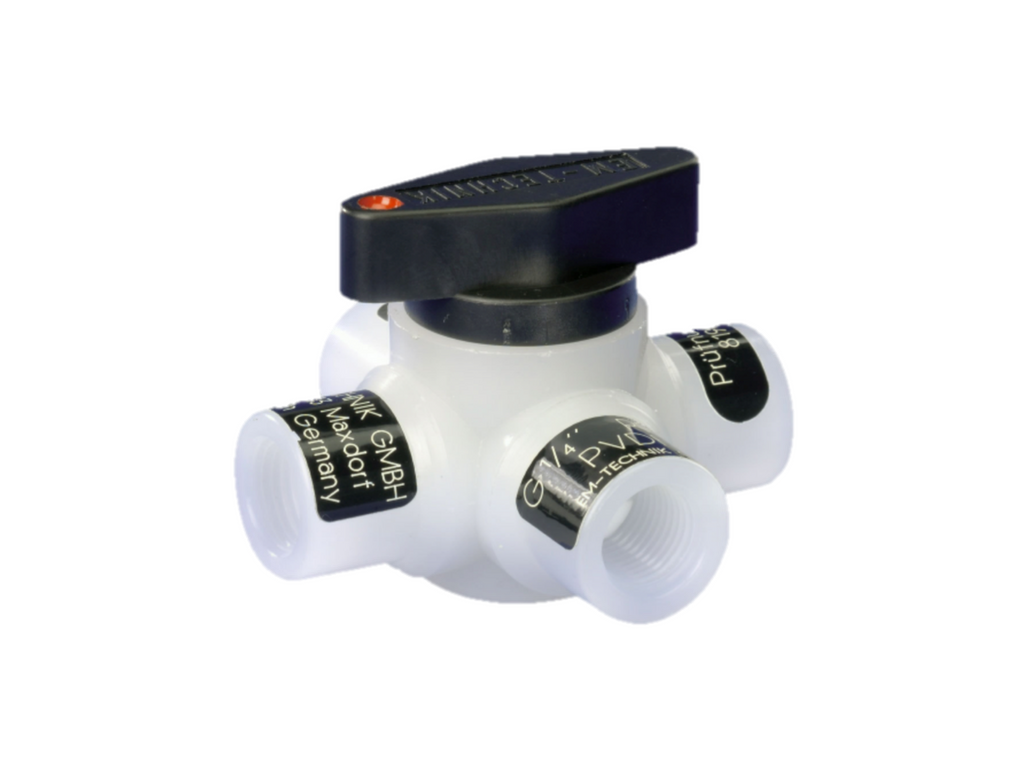 Ball valve (Series 6L), 4-way, with through bore