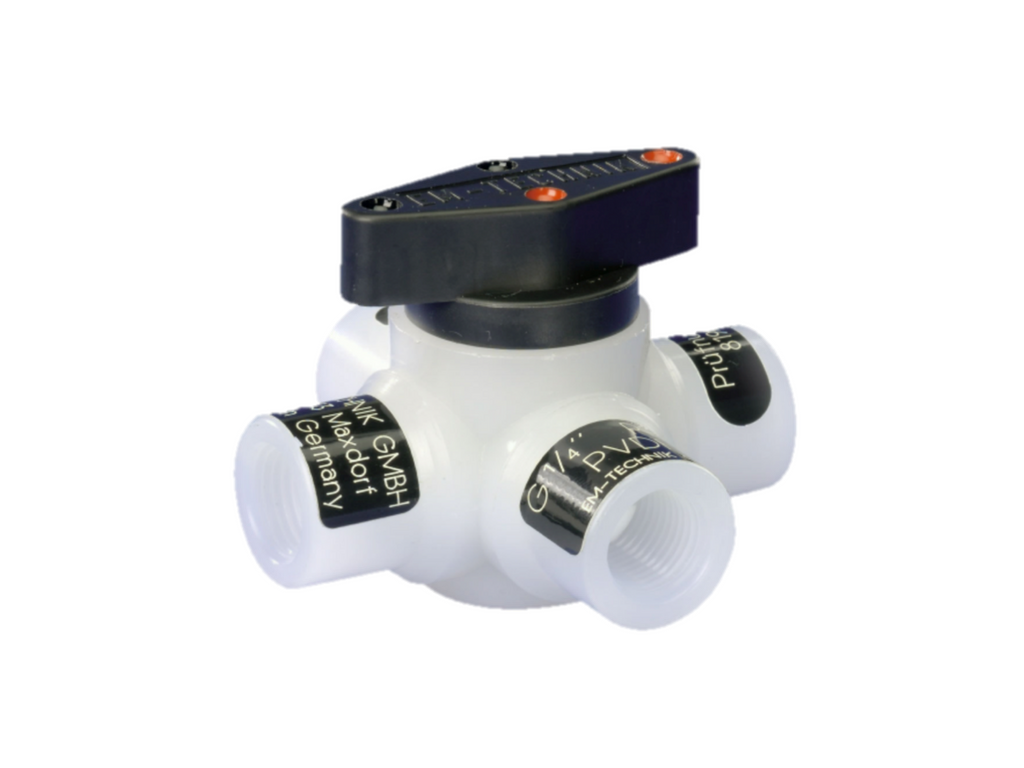Ball valve (Series 6L), 4-way, with double L-bore
