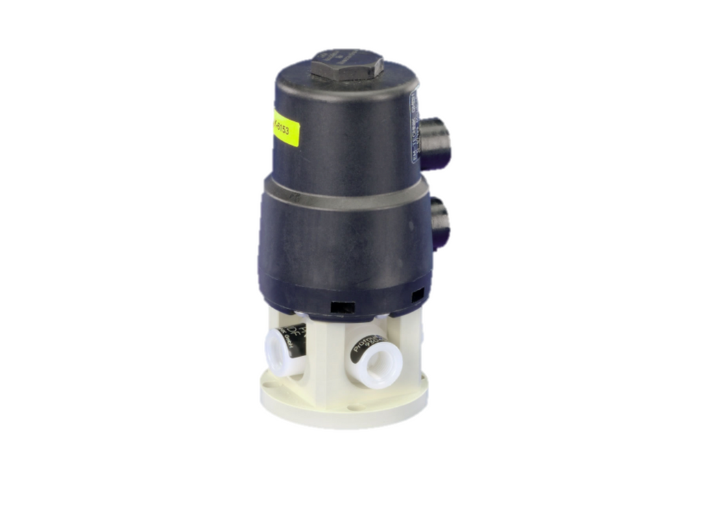 Ball valve (Series 6D) with pneumatic part-turn actuator (STANDARD), spring return, 4-way, with double L-bore